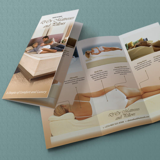 Mattress and pillow trifold leaflets