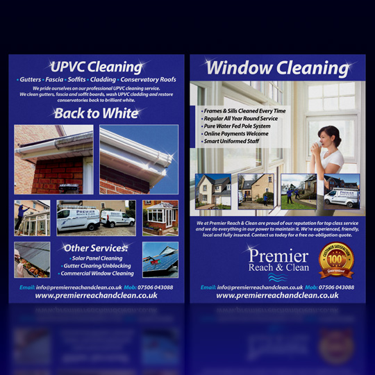 window and UPVC cleaning A5 leaflets